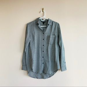 Mango Houndstooth Long Sleeve Button Up Size M